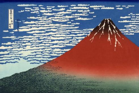 Katsushike Hokusai, Fuji Rosso (Giornata limpida col vento del Sud)